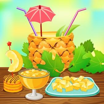 Коктейль из ананасовой иллюстрации