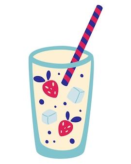 イチゴと氷のカクテル。新鮮なイチゴのスムージー。バー用のイチゴの酒とカクテルモヒート。カード、チラシ、メニュー、バー、ポスターのデザイン要素。夏の飲み物。ベクトルイラスト