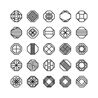 オクタゴン幾何学ベクトルアイコン、装飾