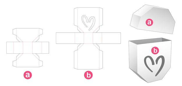 심장 모양의 창 다이 컷 템플릿이있는 팔각형 상자 및 뚜껑