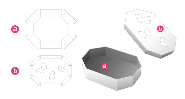 Octagonal box and lid with butterfly windows die cut template