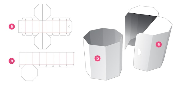 Octagonal box with flip cover die cut template