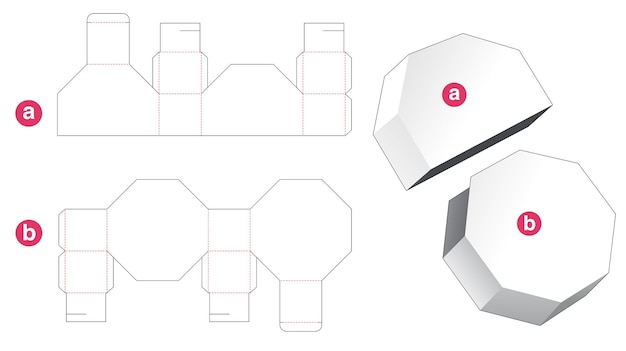 Octagonal box with lid die cut template