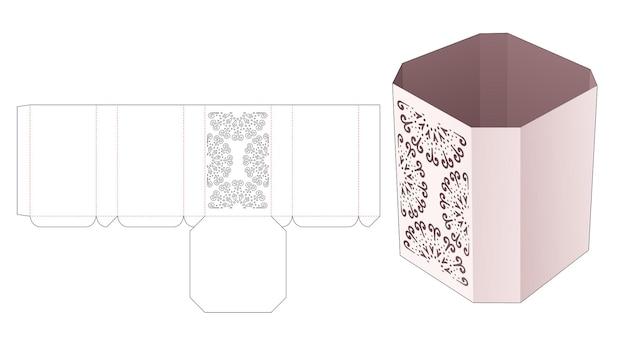 스텐실 만다라 다이 컷 템플릿이있는 팔각형 상자