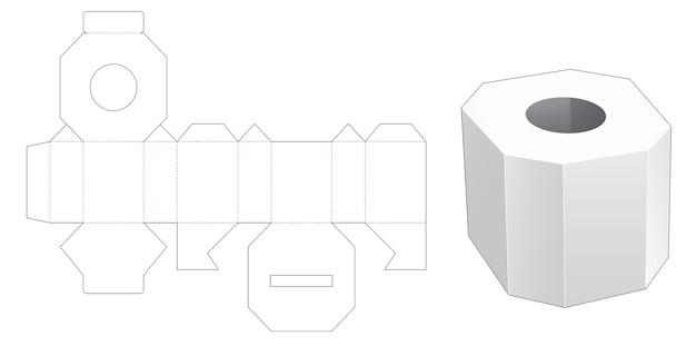 八角形のティッシュボックスダイカットテンプレート