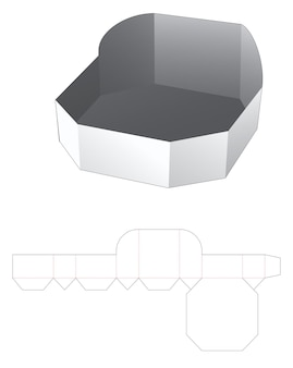 Octagonal shaped tray die cut template