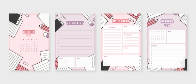 October 2021 planner modern planner template set set of planner and to do list