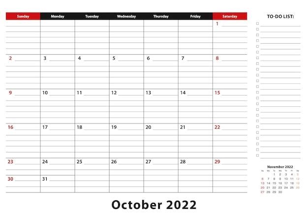 Октябрь 2022 г. ежемесячная неделя настольного календаря начинается с воскресенья, размер a3.