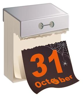 31 октября хэллоуин. черный лист оторвать календарь. изолированные на белом