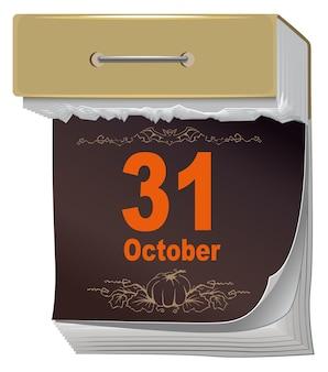 31 октября хэллоуин. черный лист оторвать календарь. Premium векторы