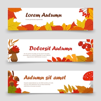 October banners. autumn leaves horizontal banner set