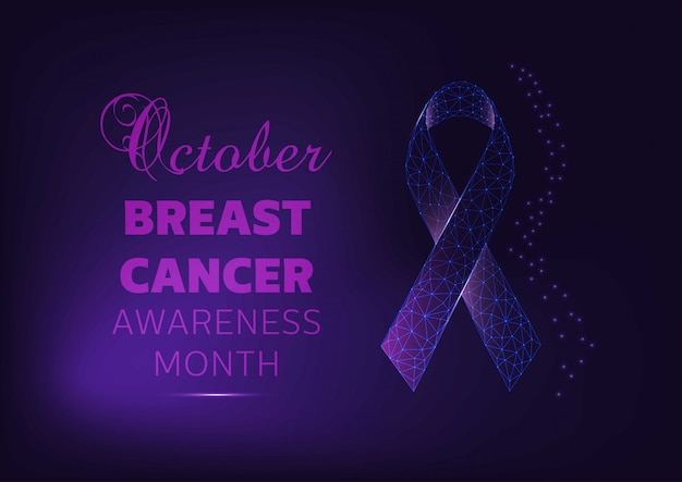 October - breast cancer awareness month campaign banner template with glowing ribbon on dark blue background.
