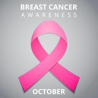 10월 유방암 인식의 달. 국제 유방암 반대의 날. 핑크 인식 리본입니다. 벡터 일러스트 레이 션. 포스터, 광고, 소셜 미디어, 표지. eps10.