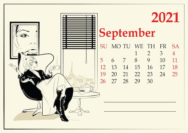 10月。スケッチスタイルのファッションの女の子とカレンダー。