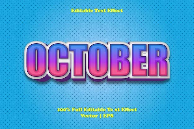 October editable text effect Premium Vector