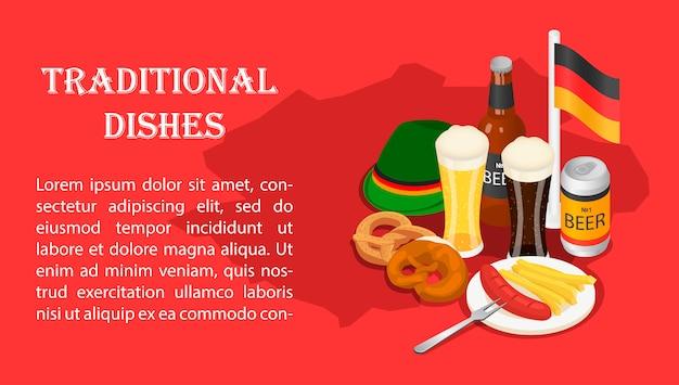 October fest beer drink menu banner isometric.