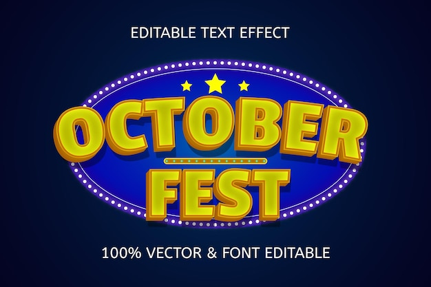10월 축제 색상 파란색 노란색 편집 가능한 텍스트 효과
