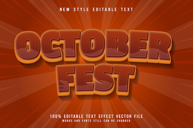 October fest editable text effect 3 dimension emboss cartoon brown style