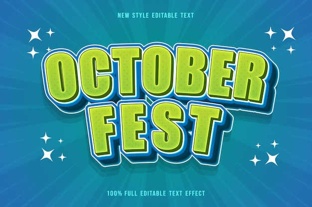 October fest editable text effect cartoon comic style green