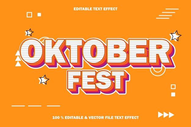 10월 축제 편집 가능한 텍스트 효과 양각 만화 만화 스타일