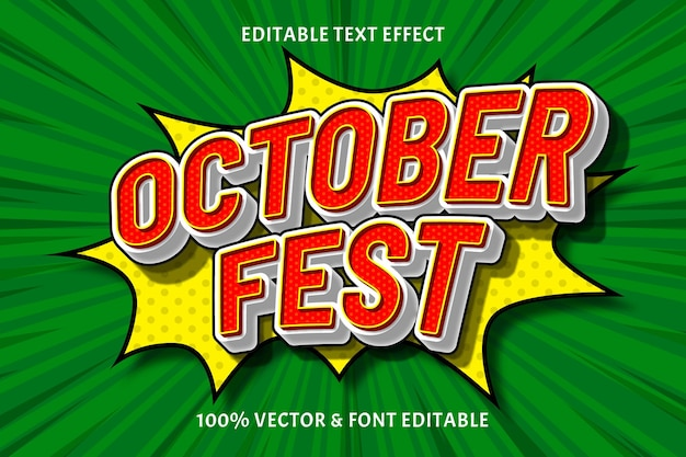 October fest editable text effect emboss comic style