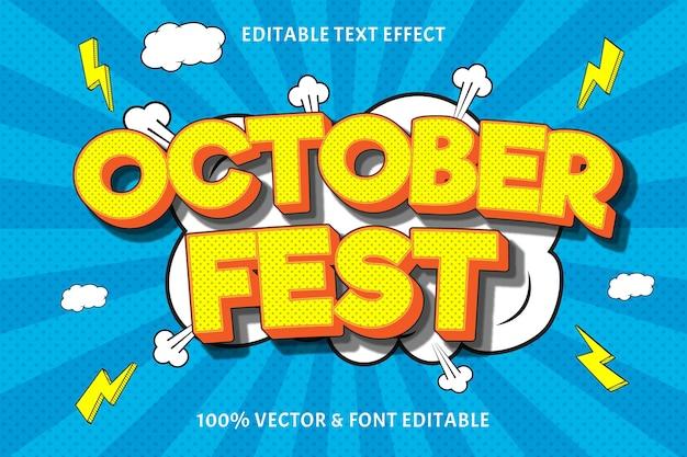 10월 축제 편집 가능한 텍스트 효과 양각 만화 스타일