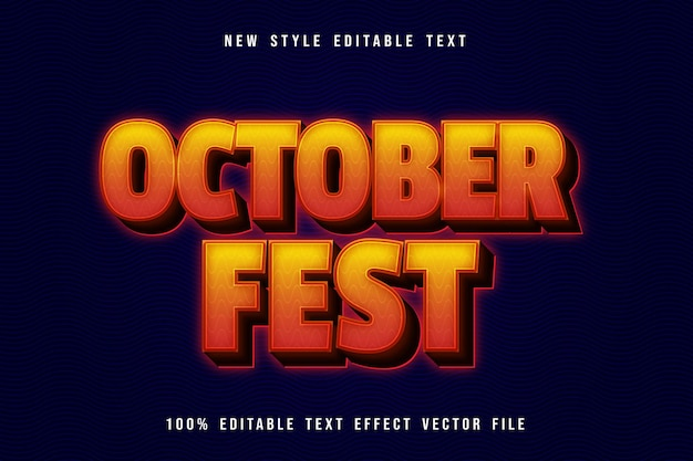 October fest editable text effect neon style