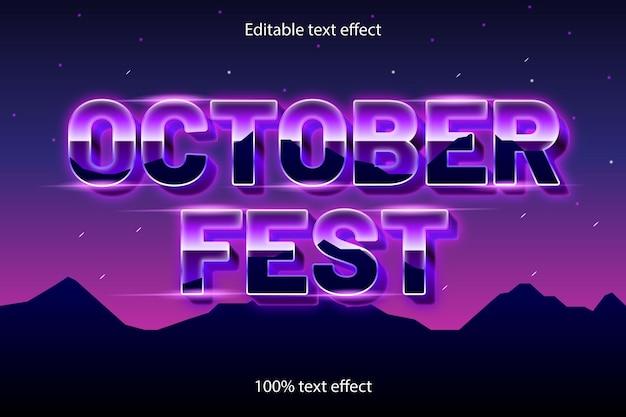 October fest editable text effect retro style