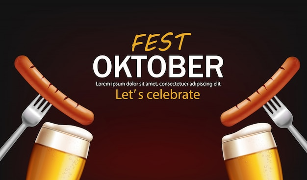 October fest poster with beer glasses and sausage