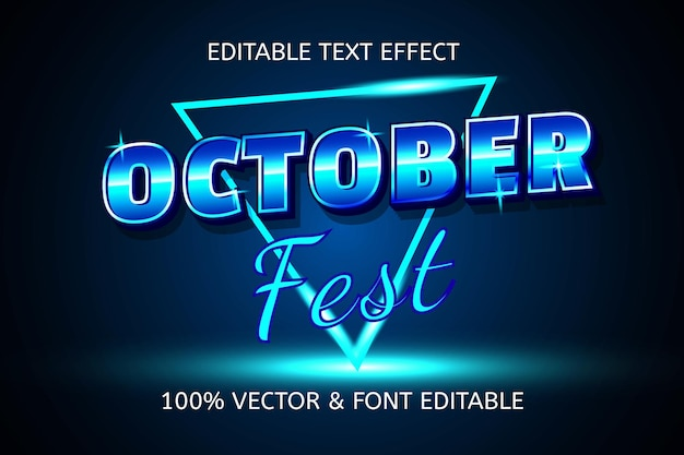 10월 축제 스타일의 복고풍 편집 가능한 텍스트 효과