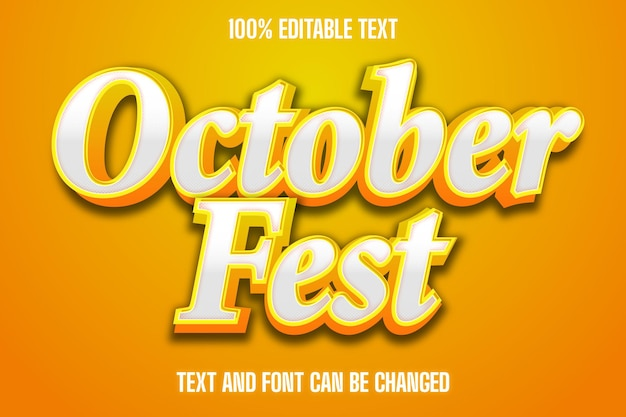 October fest text effect emboss style