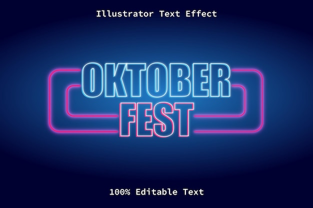 October fest with neon light style editable text effect