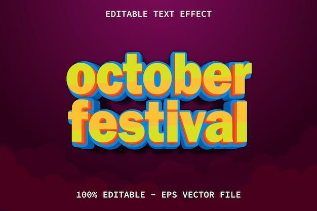 October festival with cartoon style editable text effect