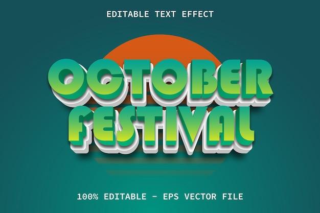 October festival with modern cartoon style editable text effect