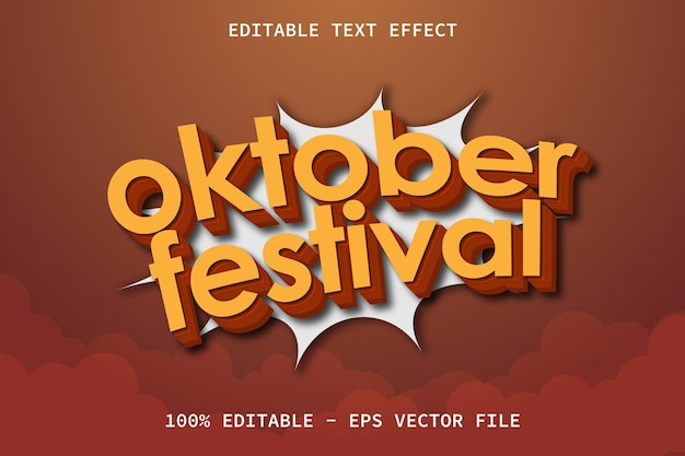 October festival with modern comic style editable text effect