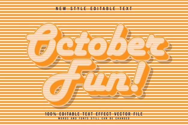 Октябрь веселый редактируемый текстовый эффект с тиснением в винтажном стиле