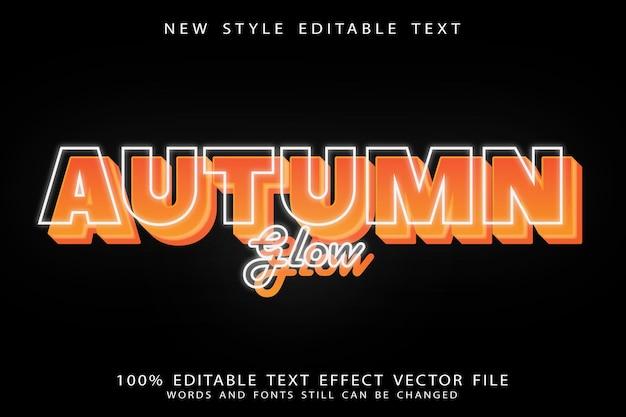 October glow editable text effect emboss cartoon style