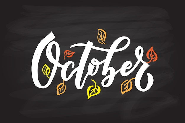 October lettering typography modern october calligraphy vector illustration on textured background