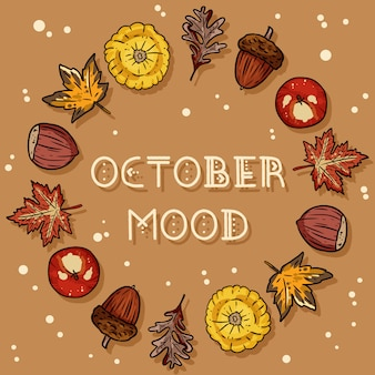 October mood decorative wreath cute cozy card