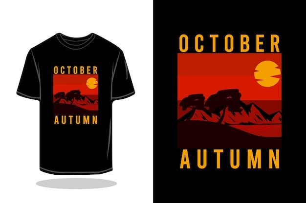 Октябрьская ночь силуэт ретро футболка дизайн макета