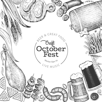 オクトーバーフェストバナー。ベクターの手描きイラスト。レトロなスタイルの挨拶ビール祭りデザインテンプレート。秋の背景。