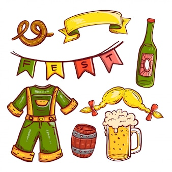 Octoberfest doodle icon set on isolated white background.