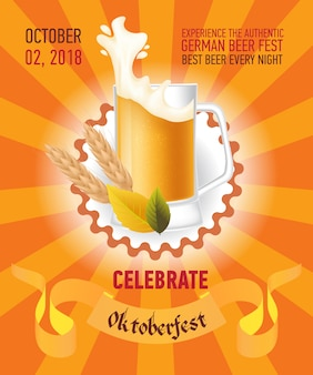 Octoberfest festive orange poster design