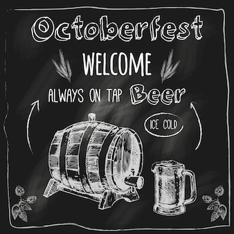 Octoberfest ice cold fresh oak barrel flavor beer with free snacks advertising blackboard sketch vector illustration