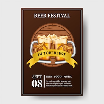 Octoberfest poster with beer glass and bottle