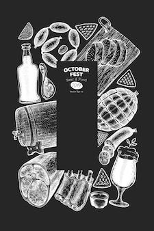 オクトーバーフェストテンプレート。チョークボードに描かれたイラストを手します。レトロなスタイルのビール祭りの挨拶。秋の背景。