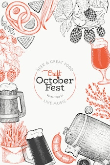 Octoberfest template. hand drawn illustrations.