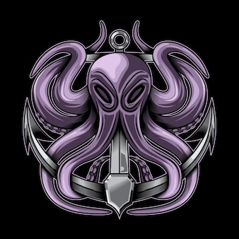 Octopus and anchor vector illustration