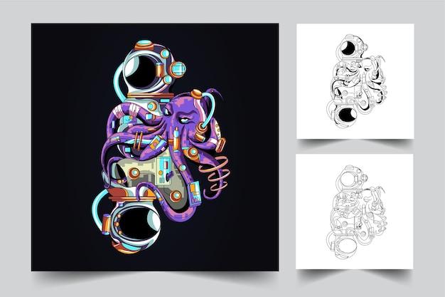 Осьминог и астронут талисман логотип