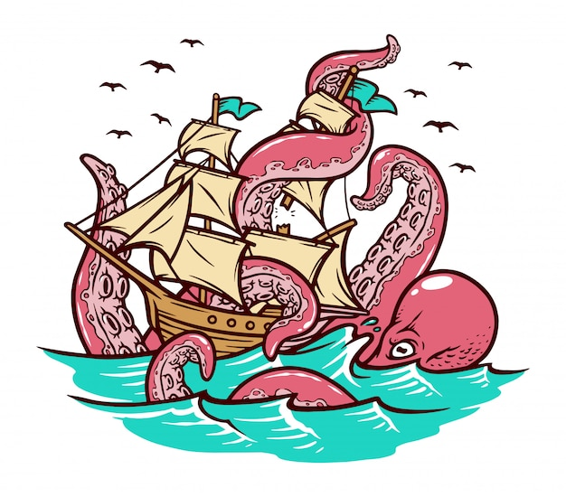 The octopus attacks the sailing ship illustration